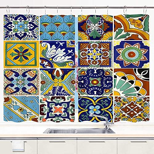 MIFSOIAVV Cortinas para Cocina Azulejos Mexicanos Cortinas de Ventana Ganchos de Metal Juego de 2 Paneles para decoración de café de casa 140x100CM