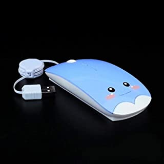 xiaoxioaguo Retractable wired mouse cartoon mute computer mouse 1600DPI optical mouse blue