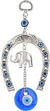 VICASKY Pingente de olhos azuis com proteção contra mau-olhado em liga grande pingente pendurado ferradura da sorte com el...