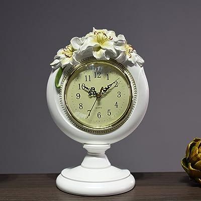 Reloj moda creativa lindo reloj europeo salón adornos Reloj de la resina del silencio flor-