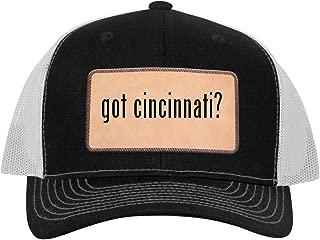 One Legging it Around got Cincinnati? - Leather Light Brown Patch Engraved Trucker Hat