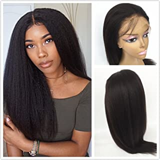 "JYL Hair Italian Yaki 360 Lace Frontal Wig Pre Plucked Hairline Bleached Knots 150% Density Lace Front Human Hair Wigs For Women 360 Lace Wig Lace Front Wigs Human Hair with Baby Hair (10"")"
