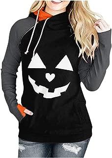 Halloween Sweatshirt for Women Plus Size Sexy Off Shoulder Pumpkin Devil Long Sleeve Blouse Daorokanduhp