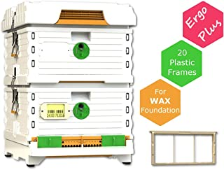 Apimaye Ergo Plus 10 Frame Langstroth Insulated Bee Hive Set with Plastic PRO Frames (Plus White)