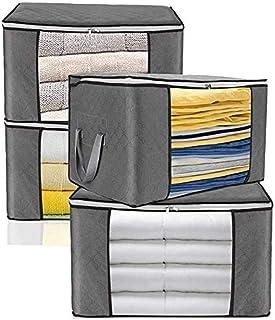 yxx Sac Rangement Sac de Rangement des vêtements Amples Container, Sac de Rangement Pliable for Blanket Couette, poignée C...