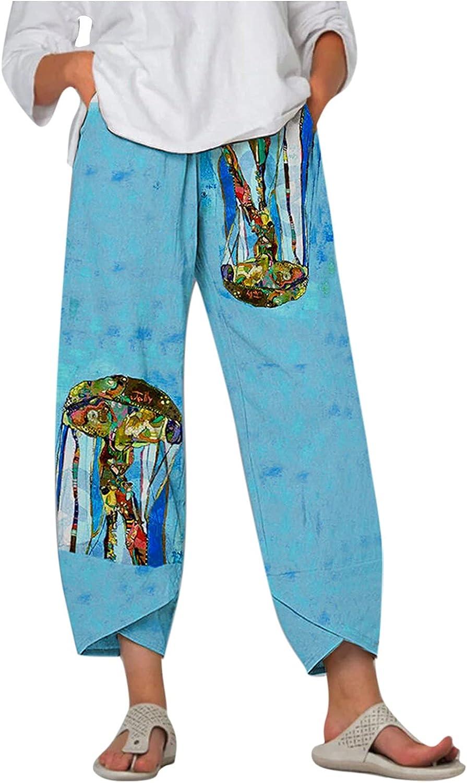HONGJ Cotton Linen Capris Pants for Womens Plus Size, Summer Casual Harem Boho Pants, Wide Leg Cropped Pajama Pants