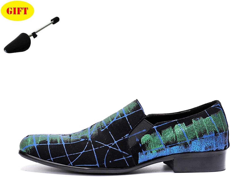 Lok Fu Chaussures Chaussures En Cuir Pour Hommes - TêTe Ronde - Motif Bleu - Ensembles De Chaussures - Affaires - Robe De SoiréE Dans La Rue,bleu,EU39 UK6