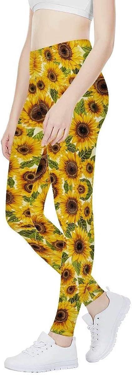 Women Sunflower Print Regular//Tall High Waisted Yoga Pants Indoor Workout Pants