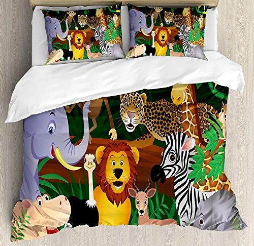 Juego de funda nórdica Zoo, Expresiones divertidas de Animals in The Jungle Exotic Comic Cheer Ilustración de hábitat natural, juego de cama decorativo de 3 piezas con 2 fundas de almohada, mu