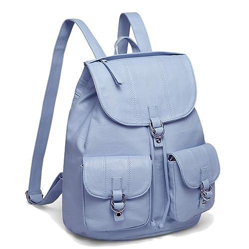 af0ef8177a Blue Leather Drawstring Backpack  Amazon.com