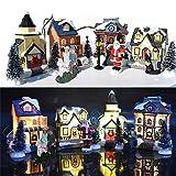 ZQYX Casas de Pueblo de Invierno de Navidad, 10 Piezas - Casas de Figuras de Navidad Juegos de construcción de Pueblo, con luz LED, Accesorios de Figuras de Navidad Adornos de Mesa