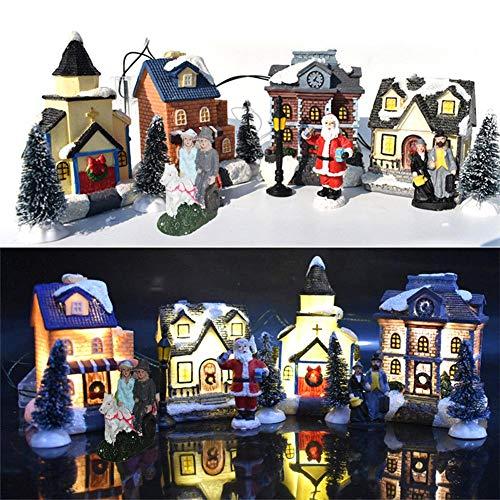 ZQYX Casas de Pueblo de Invierno de Navidad, 10 Piezas - Casas de Figuras de Navidad Juegos de construcción de Pueblo, con...