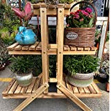 Simhoo Pine Wooden Plant Stand Multi Layer Flower Pot Shelf/Shelving Rack Indoor and Outdoor Plant Holder Display in Garden Balcon Patio or Livingroom