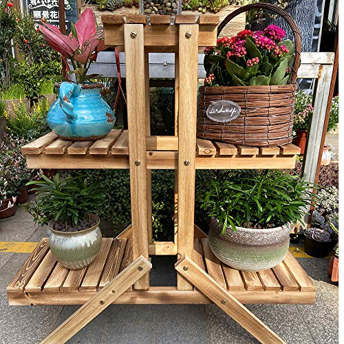 Plant Flower Stand Plant Display Shelf Rack Shelf Bamboo Foldable Pot Racks Planter Storage Rack Display Shelving Unit