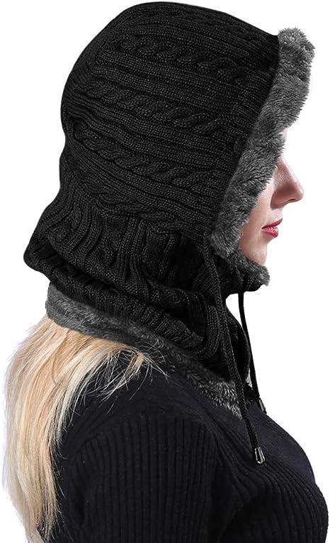 addensare caldo alluncinetto con pompon e scaldacollo Berretto invernale da donna 3 in 1 lavorato a maglia e sciarpa a cerchio con copertura rimovibile per il viso cappello isolato da sci in pile