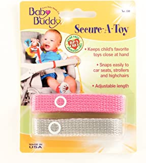 Baby Buddy Secure-A-Toy - Straps Toys, Teether, or Pacifiers to Strollers, Highchairs, Car Seats— Safety Leash With Adjustable Length to Keep Toys Sanitary & Clean, Pink/Gray 2 Count
