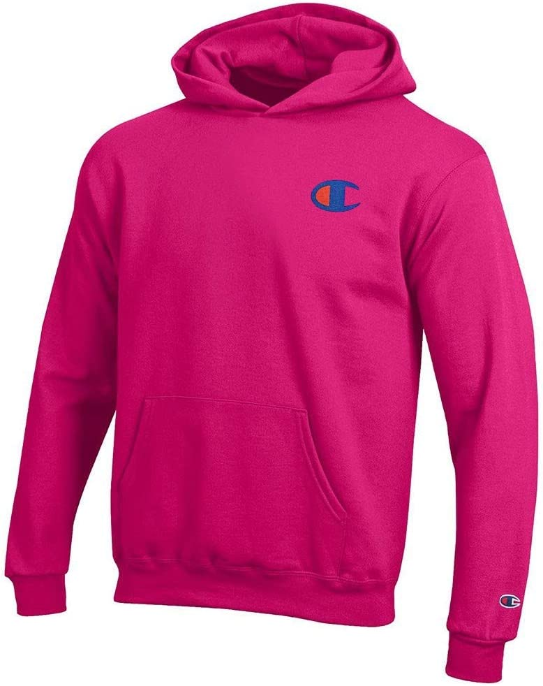 Champion Reverse Weave Logo Youth (Knockout Pink) Powerblend Pullover Hoodie