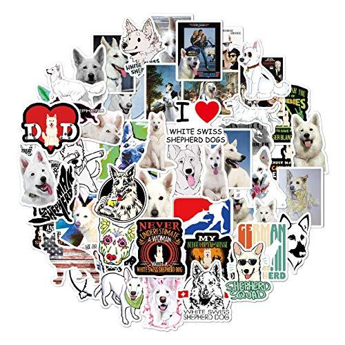 MBGM 53 unids Blanco Pastor Suizo Perro Doodle Maleta Notebook Sticker Cartoon Trolley Case Waterproof Sticker