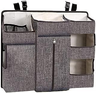 QiHaoHeji Baby Bed Organizers Baby Storage Bag Crib Hanging Bag Nursery Organizer And Diaper Caddy Organizer Hanging Replacement Table Diaper Stacker Crib Storage  Color Gray  Size 60X50X12CM