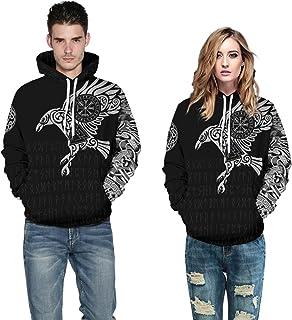 Leezeshaw Unisex Viking Myth Hoodie Sweatshirt, Mens 3D Norse Myth Viking Tattoo Pullover Hoodie Jumper with Kangaroo Pouch S-5XL