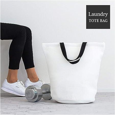 メッシュバッグ バッグ 洗濯ネット ジムバッグ 軽量 チャック 白 ホワイト ランドリーネット 洗える 鞄 袋 手さげ袋
