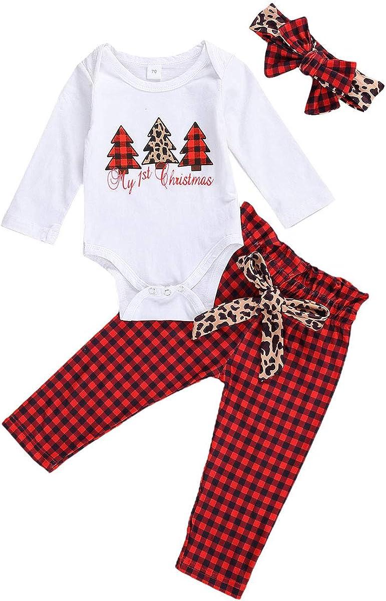 Kelala My First Christmas Newborn Baby Boy Girl Pants Set Santa Claus Long Sleeve Fall Romper Legging Pants Hat 3pcs Outfit
