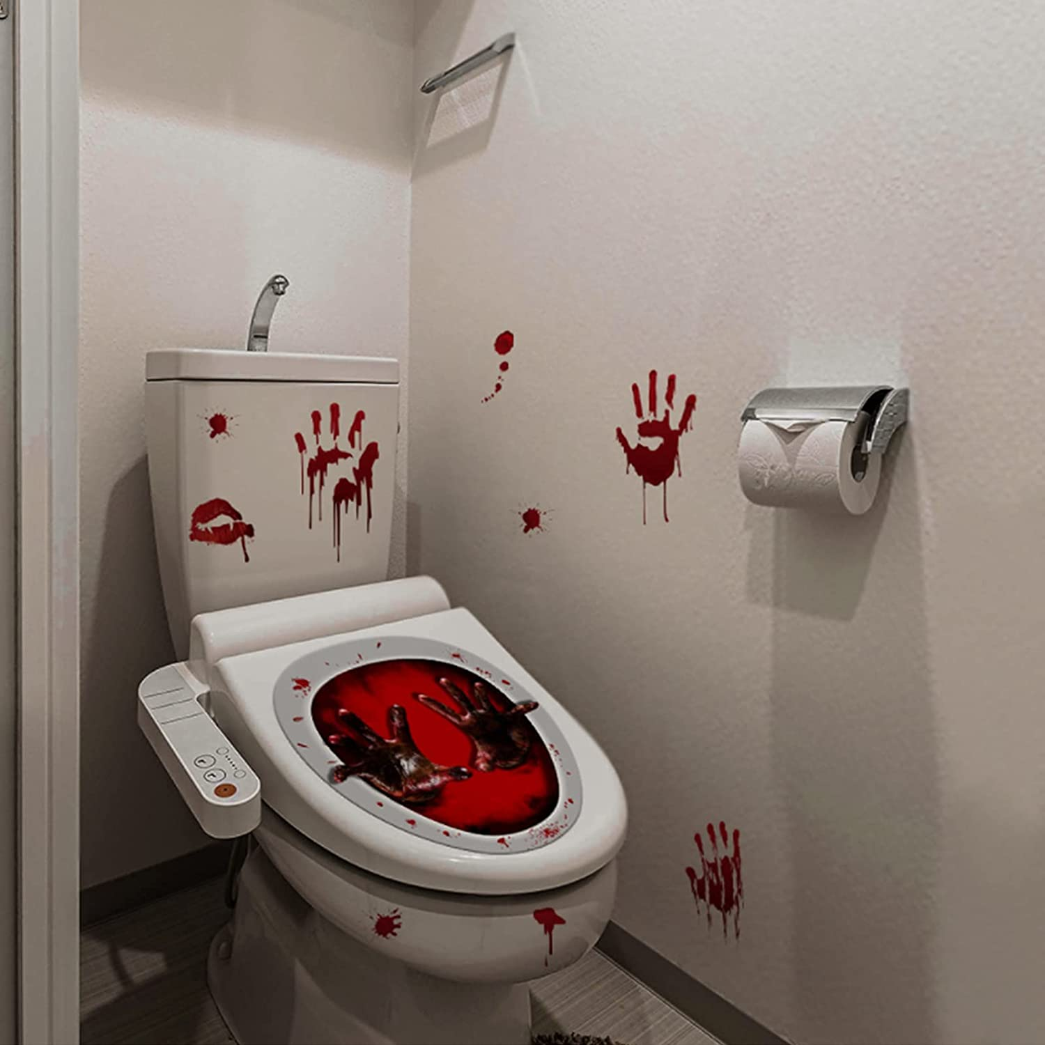 Gifts Halloween low-pricing Toilet Lid Decals Decorations Scary C Stickers