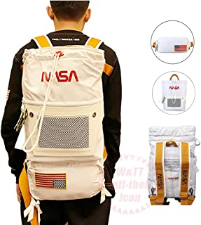 NASAバックパックフライトスーツハイキングデイパック取り外し可能なファニーパック付きスペースミッション宇宙飛行士ブックバッグトラベルバッグパッチ付き、40cm * 30cm * 15cm,白