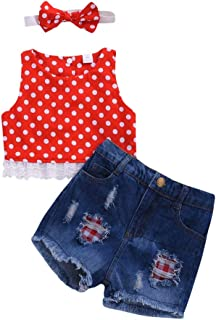3Piece Toddler Infant Baby Girl Outfits Set,Sleeveless Polka Dot Lace T-Shirt Ripped Denim Shorts Jean Pants Headbands Suit