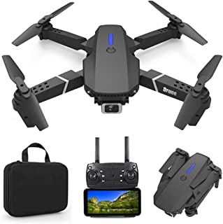 Foldable Mini Drone with 4K Double HD Camera Dual Lens 2.4G WiFi FPV RC Quadcopter (Black) Gesture Control with Carry Case...