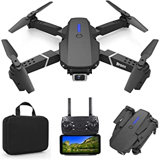 Foldable Mini Drone with 4K Double HD Camera Dual Lens 2.4G WiFi FPV RC Quadcopter (Black) Gesture Control with Carry Cas...