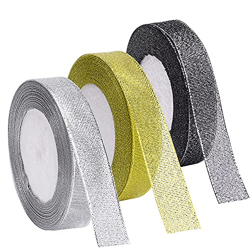 Livder 3 Rolls 75 Yards in Total Metallic Glitter Ribbon for Gift Wrapping Birthday Holiday...