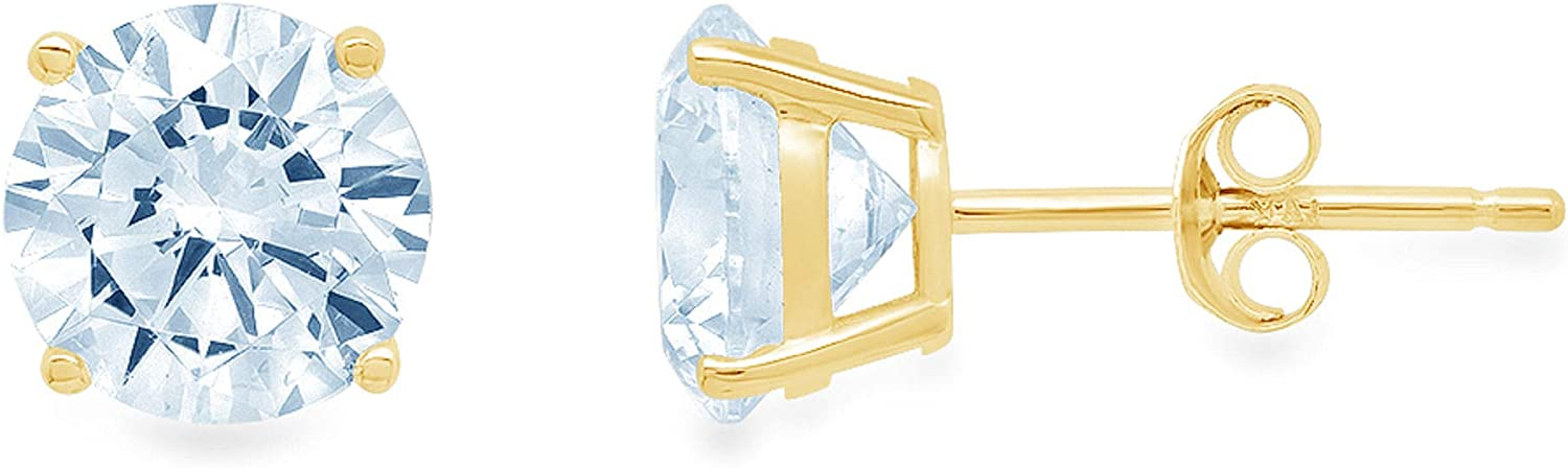 Clara Pucci 0.20 ct Brilliant Round Cut Solitaire Genuine Flawless Blue Simulated Diamond Gemstone Pair of Stud Earrings Solid 18K Yellow Gold Butterfly Push Back