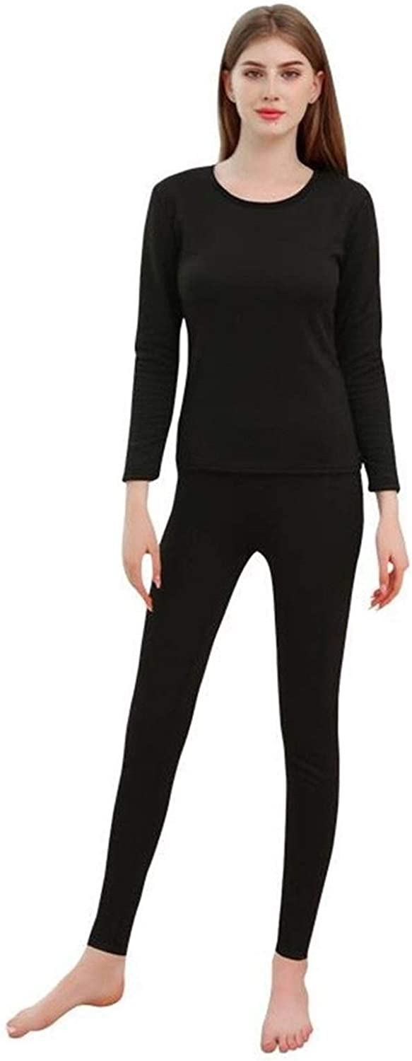 QWERBAM Women Winter Thermal Underwear Winter Autumn Shirts Pullovers Keep Warm Clothing (Color : Black, Size : XXL.)