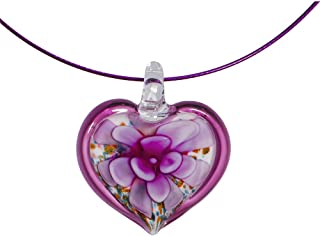Handcrafted Burgundy Glass Flower Heart Wire Choker