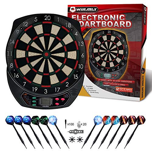 WIN.MAX Electronic Dart Board,Soft Tip Dartboard Set LCD Display with 6 Darts, 40 Tips, Power...