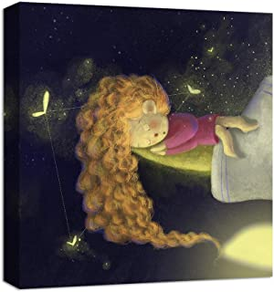 NWT Canvas Wall Art Dream Girl Sleeping with Fireflies Painting Artwork for Home Decor Framed for Children - 16x16 inches