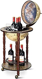 Cypress Shop Rolling Liquor Wine Bottle Storage Rack Wine Bottle Glasses Holder Wooden Italian Style Globe Shelving Unit Organizer Antique Stylish Wine Bar with 3 Wheels Home Decoration Furniture