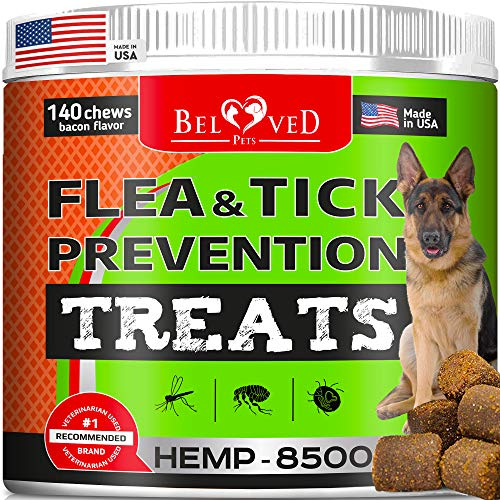 Beloved Pets Flea and Tick Control Treats for Dogs with - Flea Prevention Soft Chews - Natural Tick Repellent with Hemp- Made in USA - 140 Ct Bacon Flavor