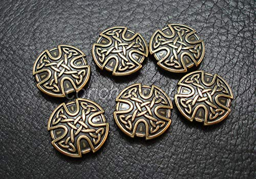 Conchos for Clothes Set of 6 Antique Brass Craft Celtic Cross Conchos 1 inch Screw Back Craft tack