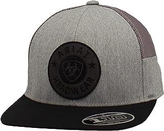 قبعة ARIAT للرجال قابلة للتعديل مرنة مرنة 110 مستديرة شعار رمادي