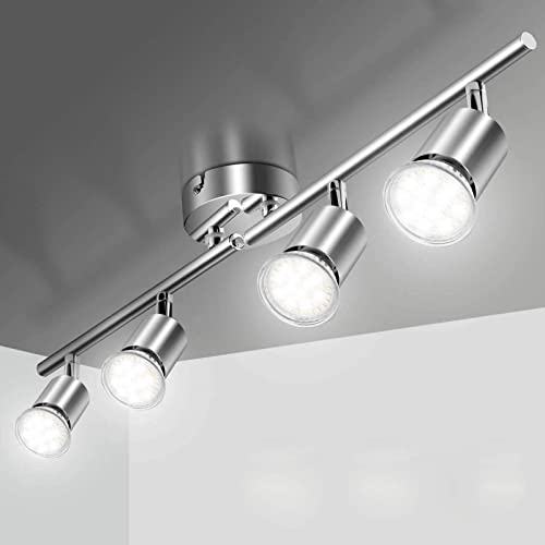 Plafonnier LED 4 Spot Orientable, Elfeland Éclairage de Plafond 4xGU10 Spot LED Angle Réglable Luminaire Plafonnier 2...