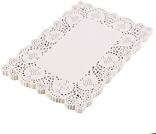 DECORA 200 Pieces White Rectangle Lace Paper Doilies Placemats for Wedding Tea Party and Baking 14x10