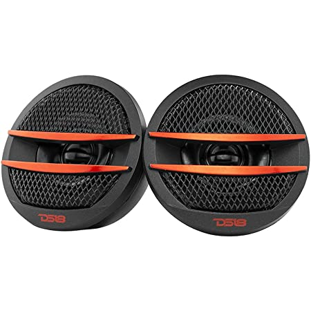 DS18 TX1R Tweeter X1 1.38-inch 200 Watts Max PEI Dome Ferrite Tweeters with Mounting Kit Angle, Flush, & Surface - Set of 2 (Black/Red)
