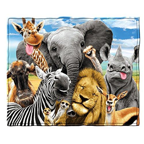 Dawhud Direct African Safari Animals Selfie Super Soft Plush Fleece Throw Blanket
