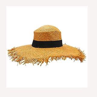 LPKH Beach Hat Visor Cap Women Outdoor Beach Hat Straw Hat Large Brim Straw Braid Sun Hat hat (Color : Yellow)