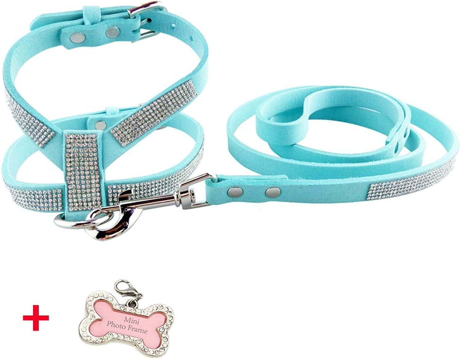 PETCARE Sparkly Rhinestone Dog Harness & Leash Set Soft PU Leather Shining Diamonds Pet Collar Harnesses for Small Medium Dogs (M(Adjustable Chest 13 16  Neck 8.6 11 ), bluee)
