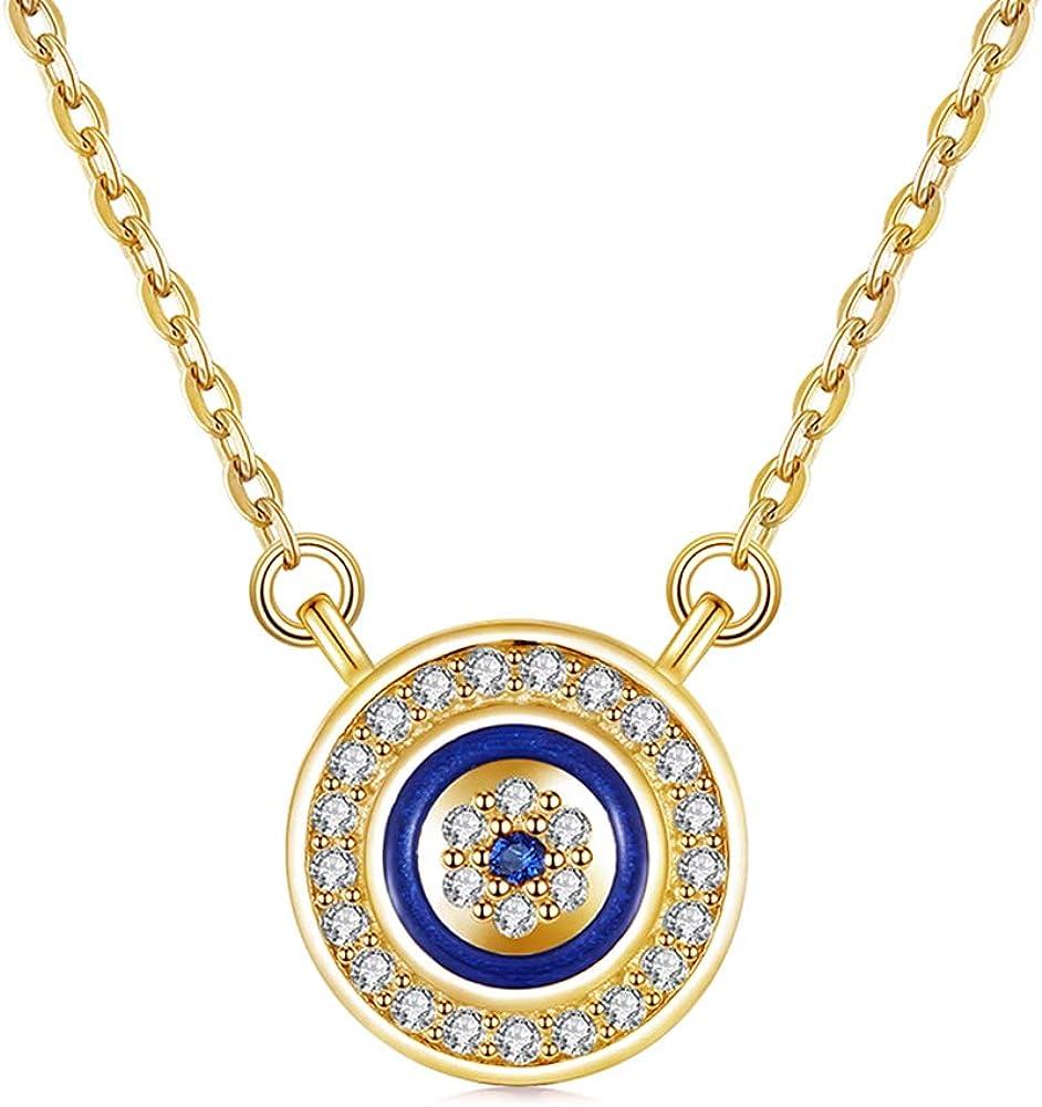 Popular popular Kaletine Round Blue Evil Eye Sales for sale Sterling 92 Silver Necklace Pendant