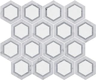 Difalrt Carrara White Italian Bianco Carrera Thassos Latin Blue Hexagon Marble Mosaic Tile Pack of 5