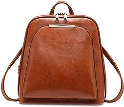 حقيبة ظهر للنساء من دومبيست ، جلد عتيق مصنوع من الشمع الزيتي حقيبة سفر كاجوال حقائب مدرسية للبنات, One Size